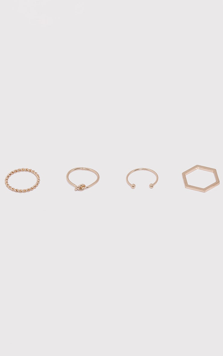 Four Pack Gold Multi Rings 1