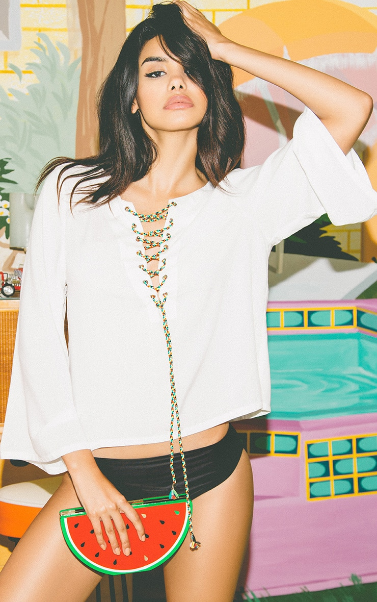Mylie White Tie Front Top 2