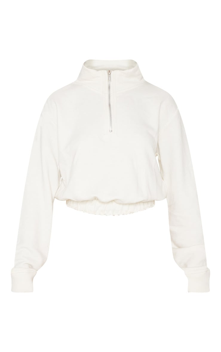 Cream Zip Up Sweater 3