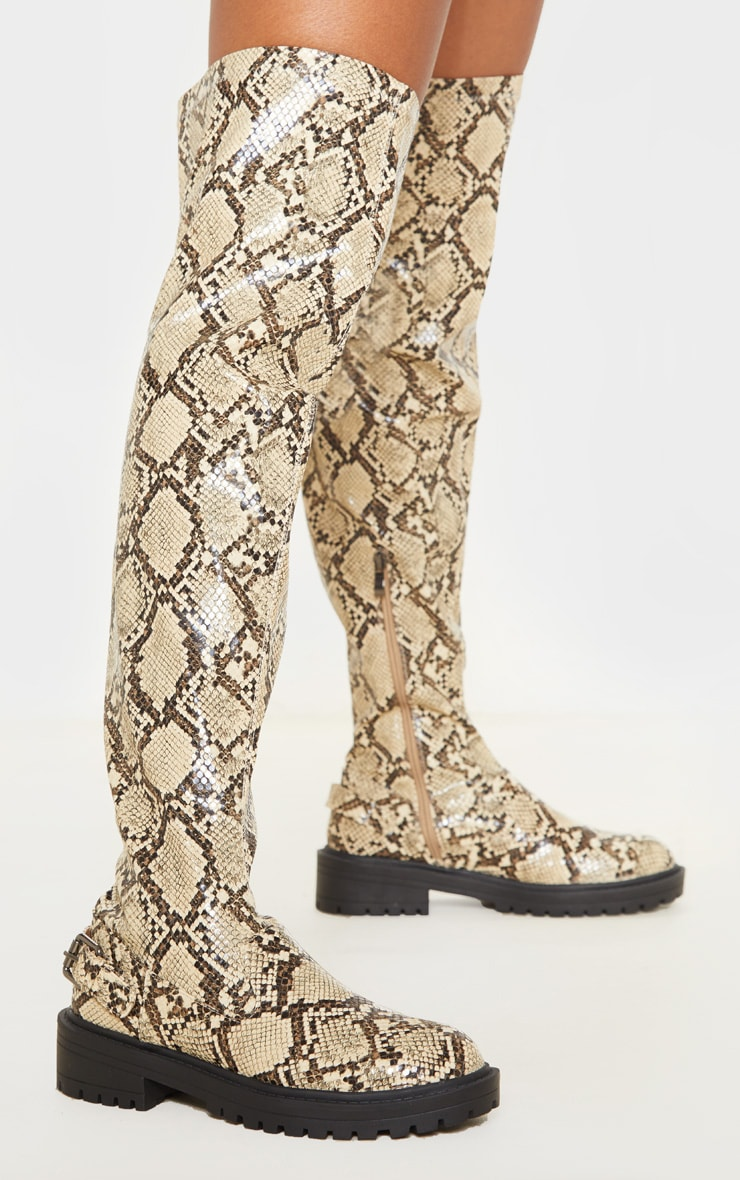 Snake Cleated Flat Over The Knee Boot 1