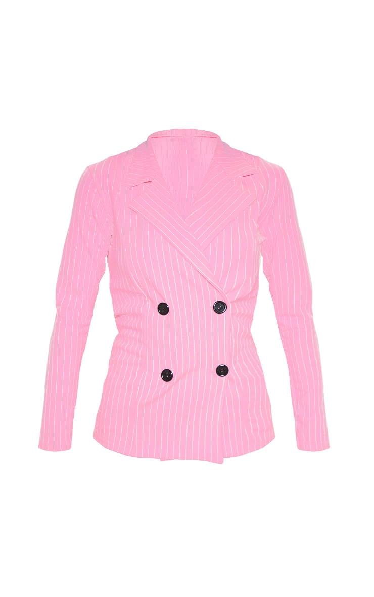 Pink Pinstripe Double Breasted Blazer 3
