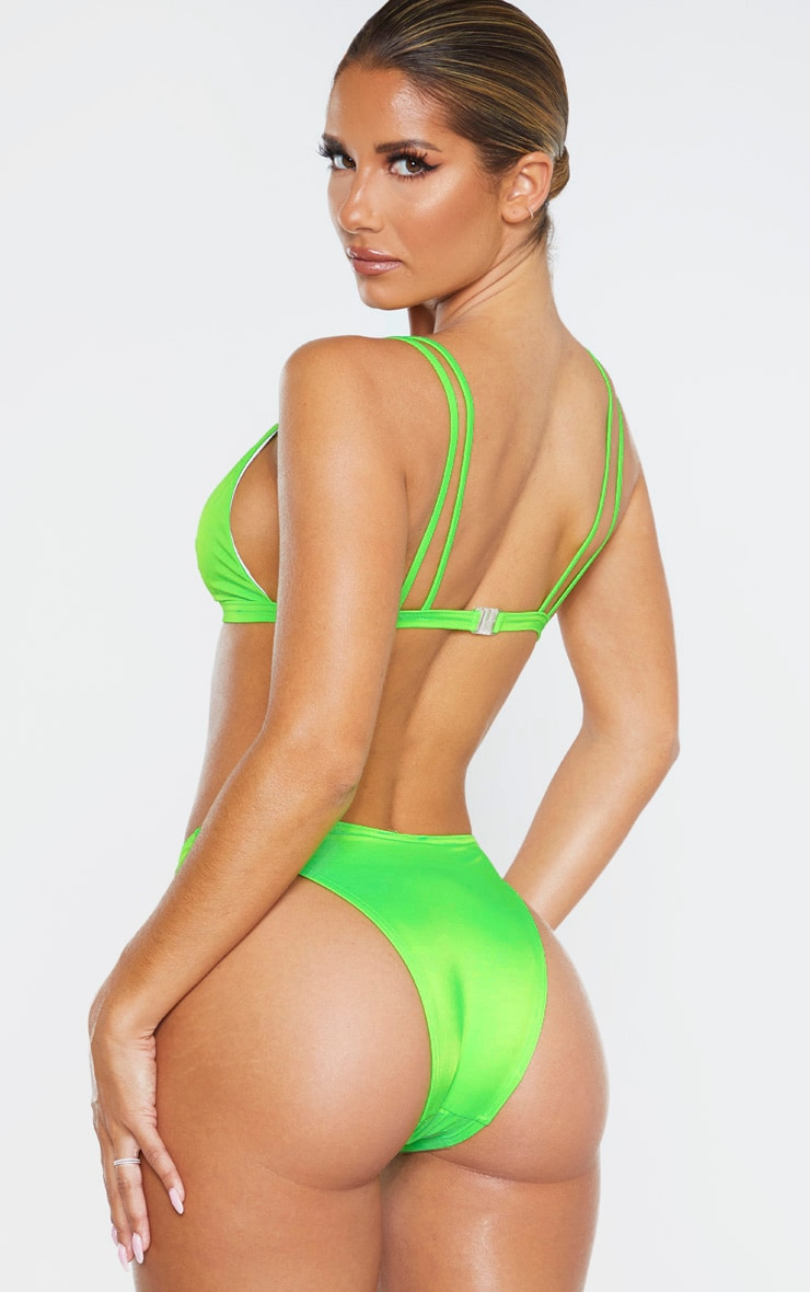 Lime Recycled Mix & Match Double Strap Scoop Bikini Top 2