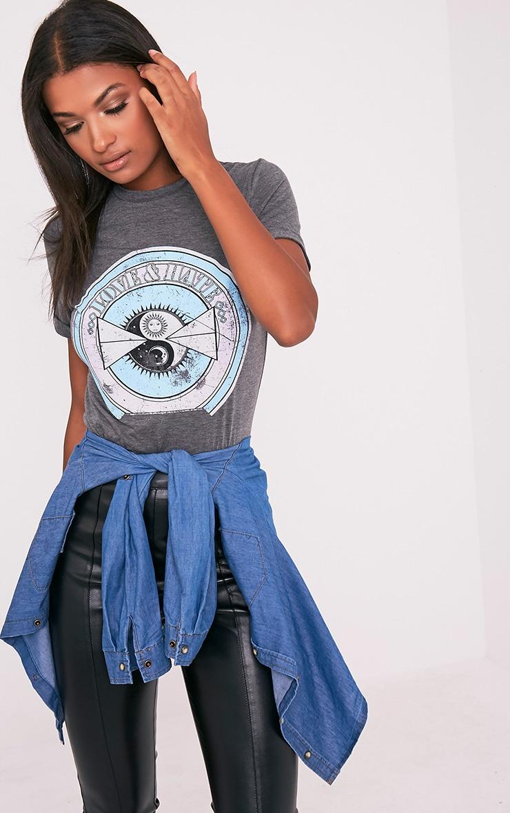LOVE & HATE Charcoal Slogan T-Shirt 1