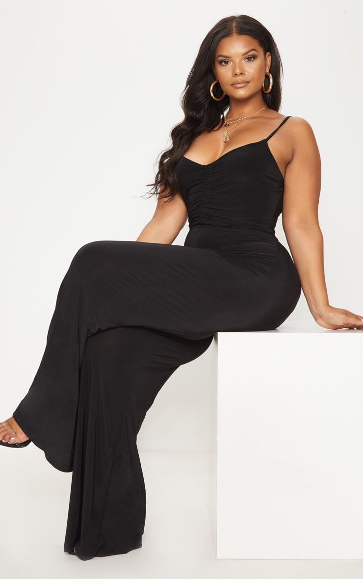 Plus Black Slinky Ruched Top Jumpsuit 4