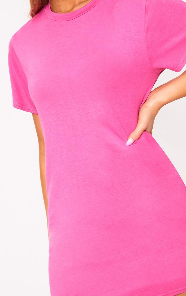 Basic Hot Pink Short Sleeve T Shirt Dress 5