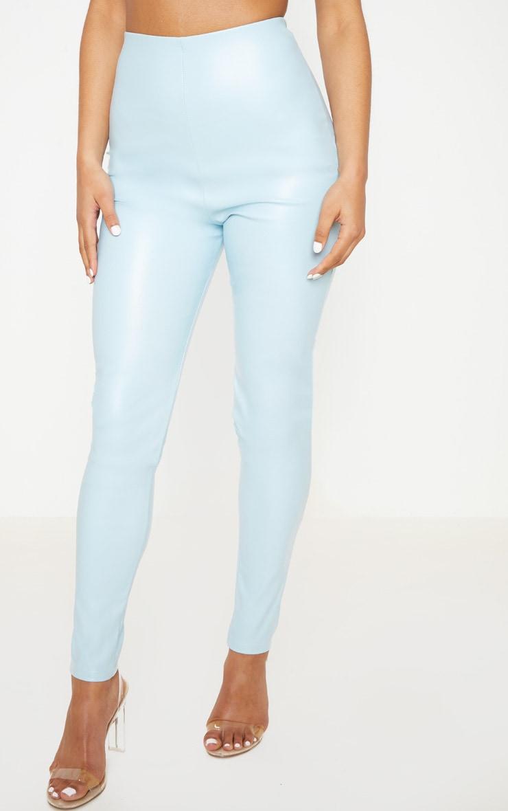 Pantalon skinny en similicuir bleu clair 2