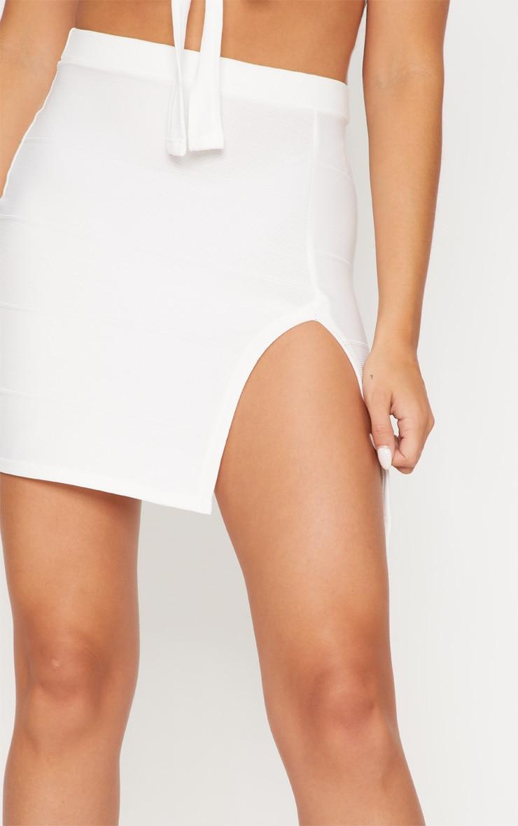 White Bandage Split Mini Skirt 6