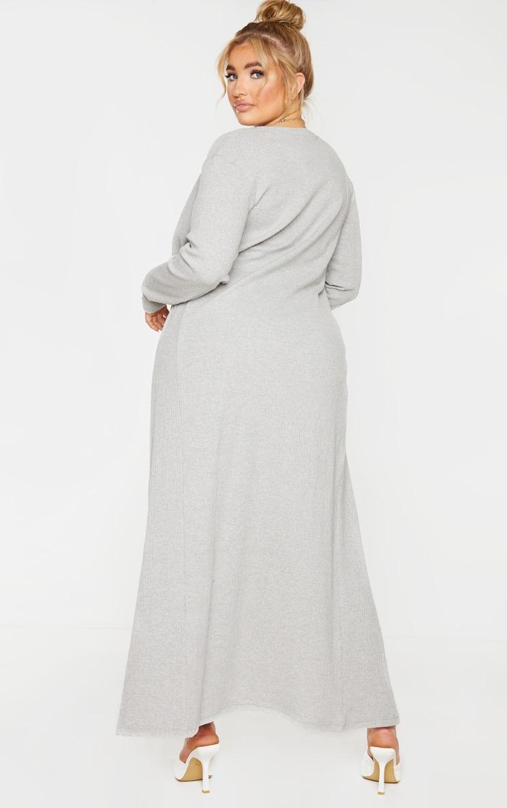 PLT Plus - Cardigan long côtelé brossé gris 2