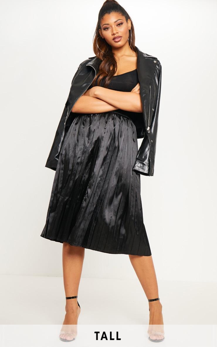 Tall Black Satin Pleated Midi Skirt  1