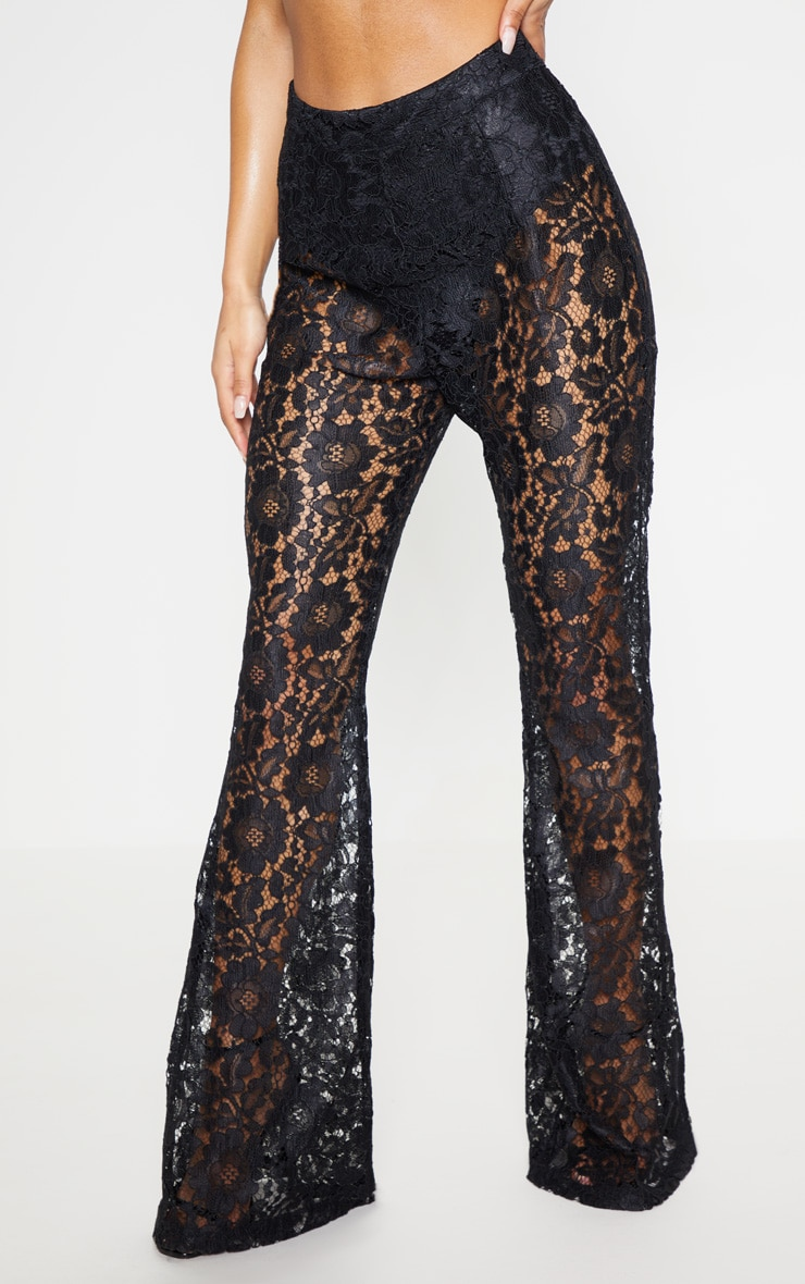 Black Lace Sheer Flare Leg Trousers 2