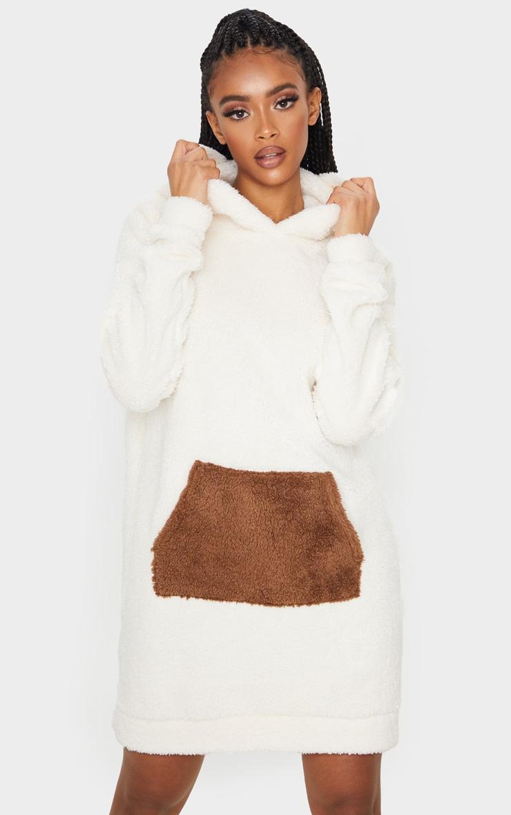 Camel Contrast Pocket Front Borg Hoodie Jumper Dress 1