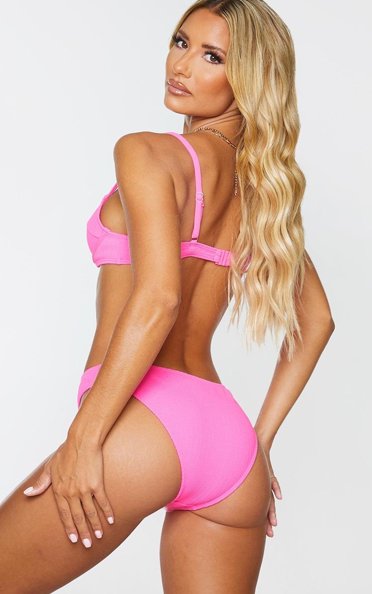 Neon Pink Underwired Crinkle Bikini Top 2