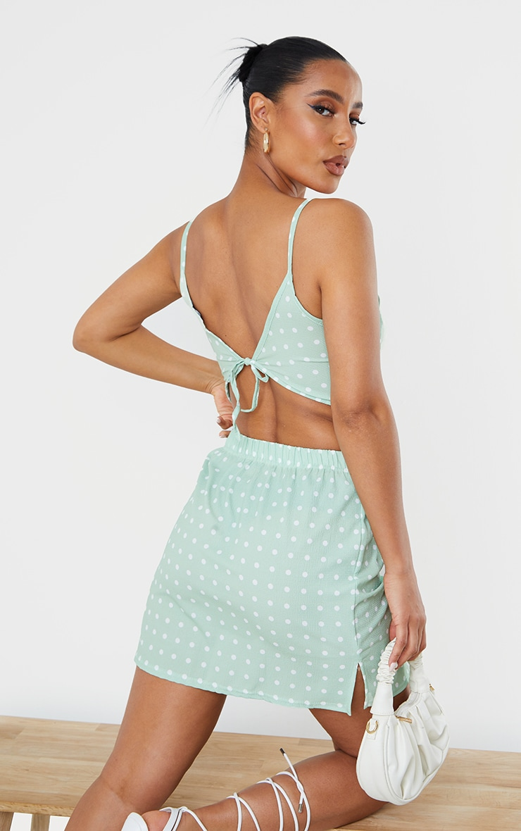 Sage Green Woven Polka Dot Plunge Front Strappy Crop Top 2