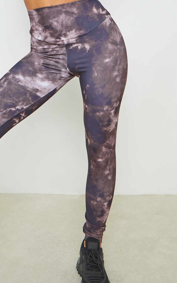 Chocolate Tie Dye High Waisted Sport Leggings 4