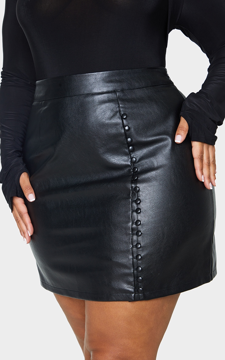 Plus Black PU Button Down Mini Skirt 5