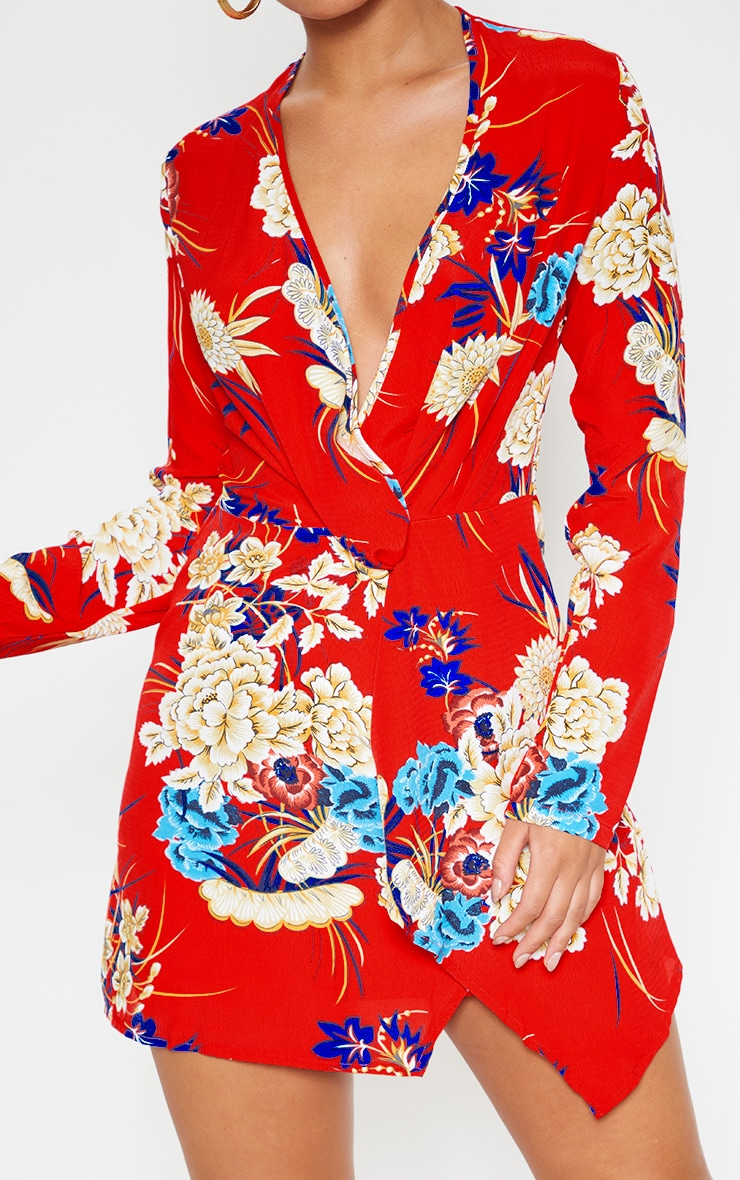 Red Floral Long Sleeve Wrap Dress 5
