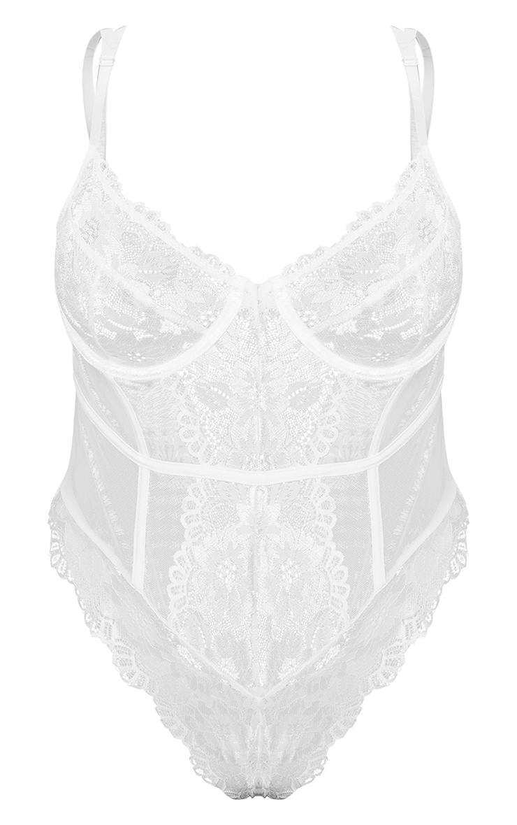 Plus White Underwired Cage Detail Lace Body 5