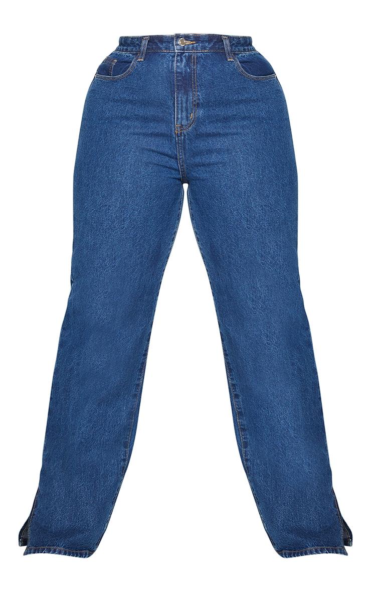 Plus Dark Blue Wash Split Hem Jeans 5