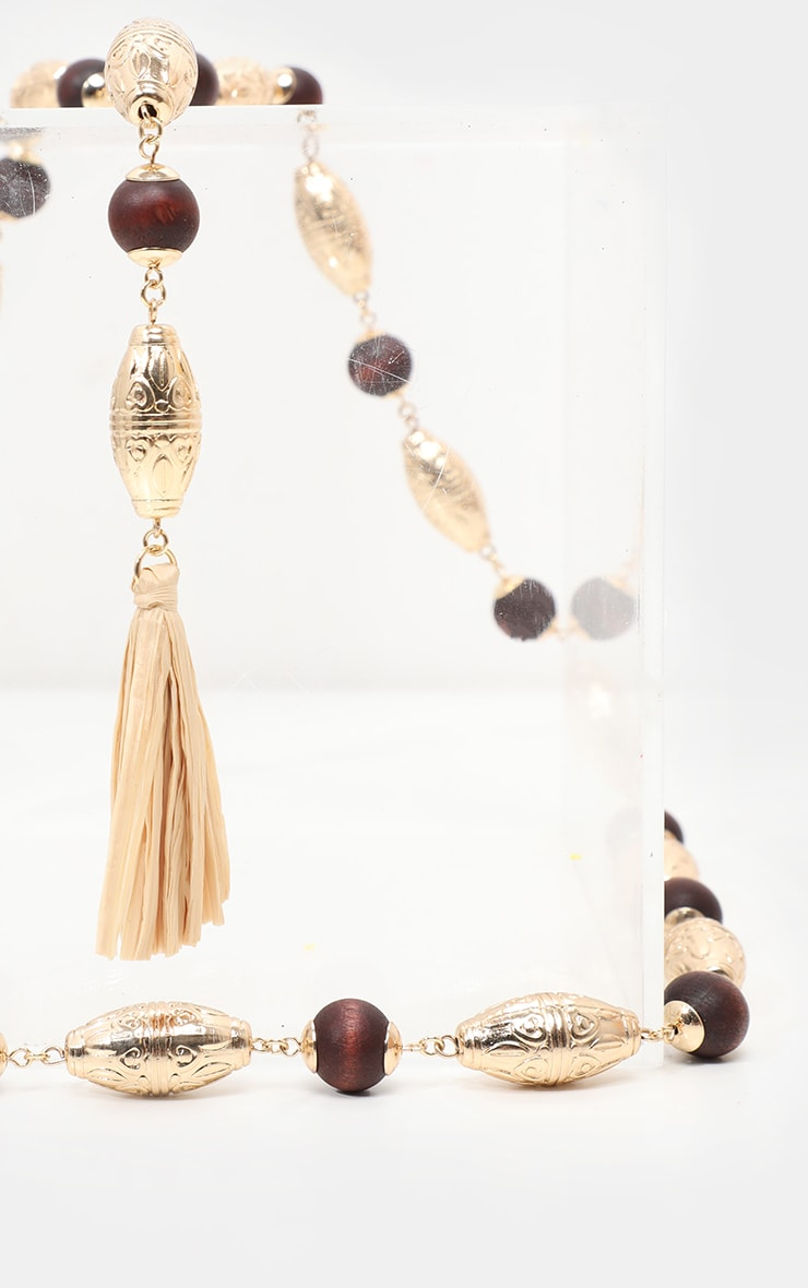 Gold And Wooden Beaded Straw Tassel Belt 2