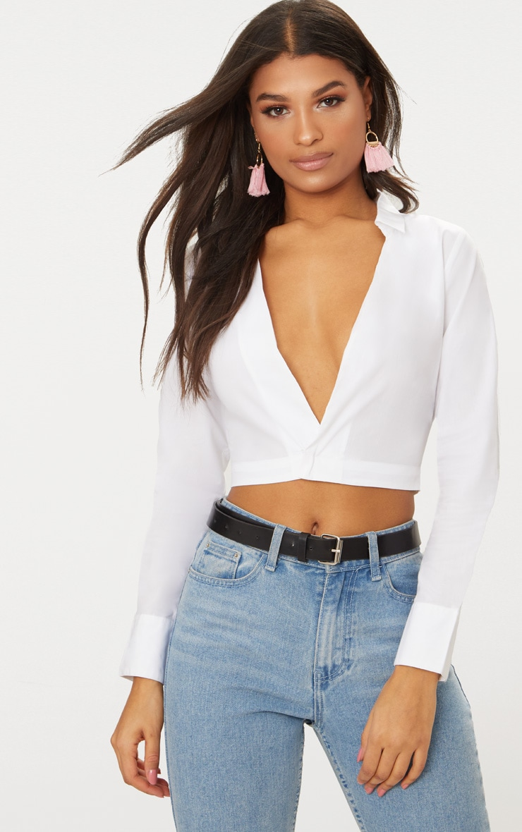 White Deep Plunge Blouse 1