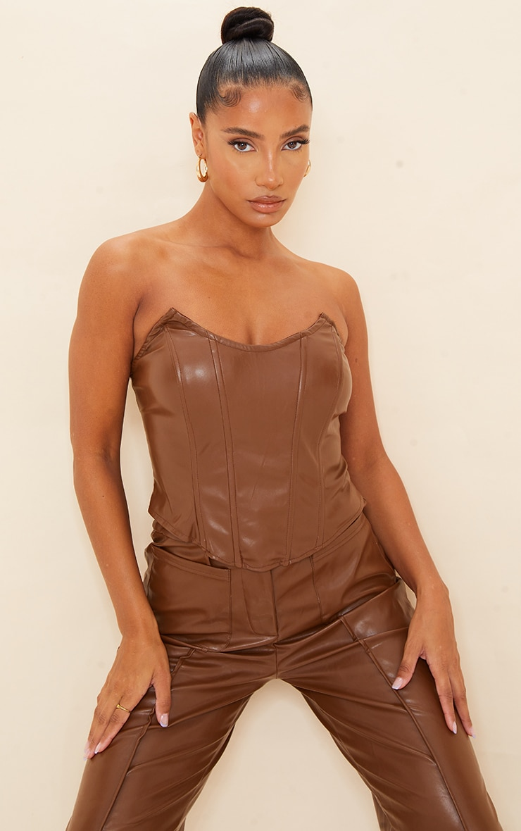 Chocolate Brown Faux Leather Pointed Cup Corset Top 1