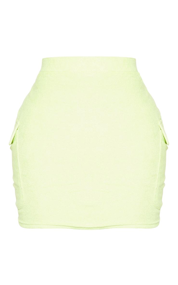 Shape Lime Velour Pocket Detail Bodycon Skirt 6