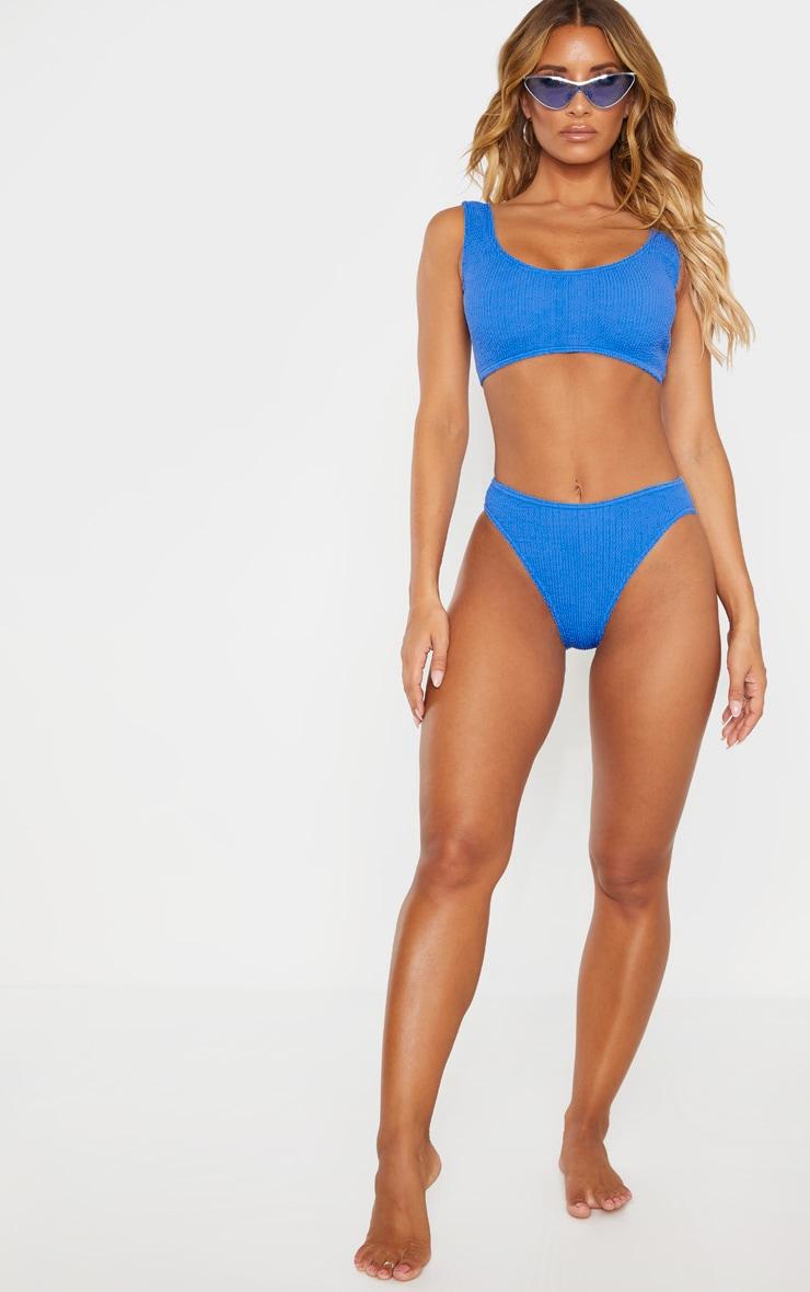 Blue Crinkle Cheeky Bum Bikini Bottom 4
