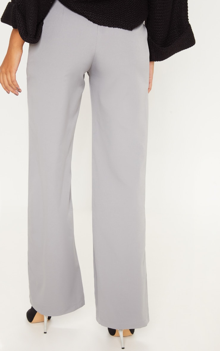 Silver Grey Belt Ring Detail Wide Leg Pants 3