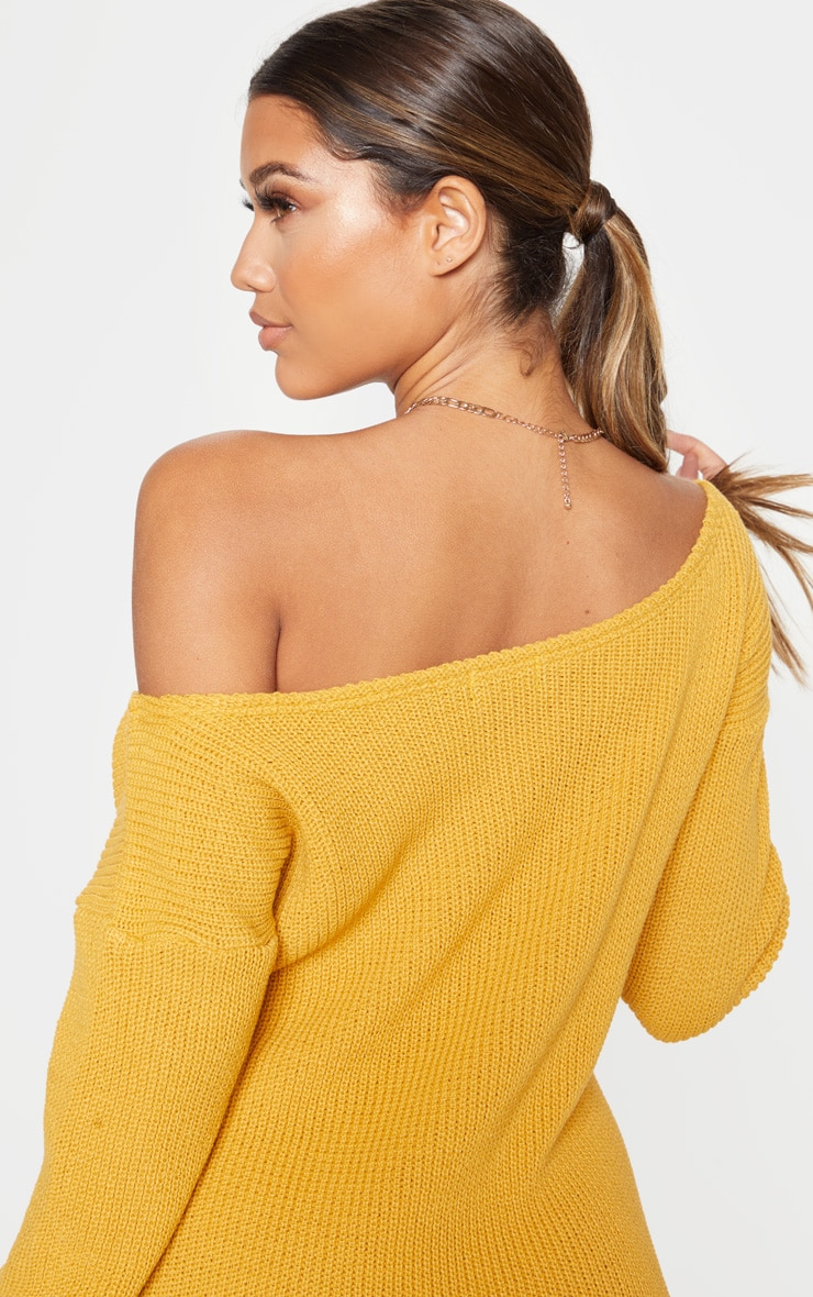 Mustard Off The Shoulder Knitted Dress 5