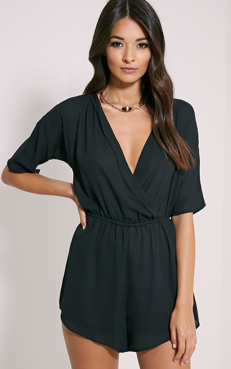 e9a660fb41 Bobby Black Wrap Front Playsuit image 1