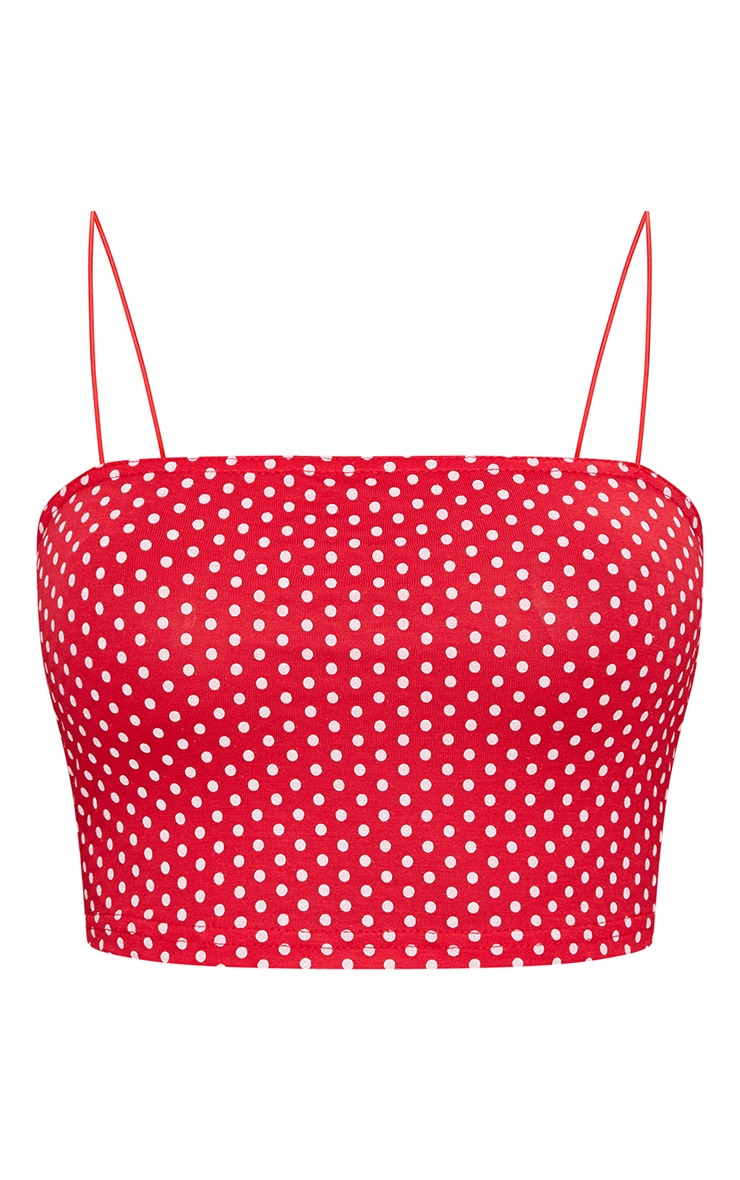 Red Polka Dot Spaghetti Strap Crop Top 3