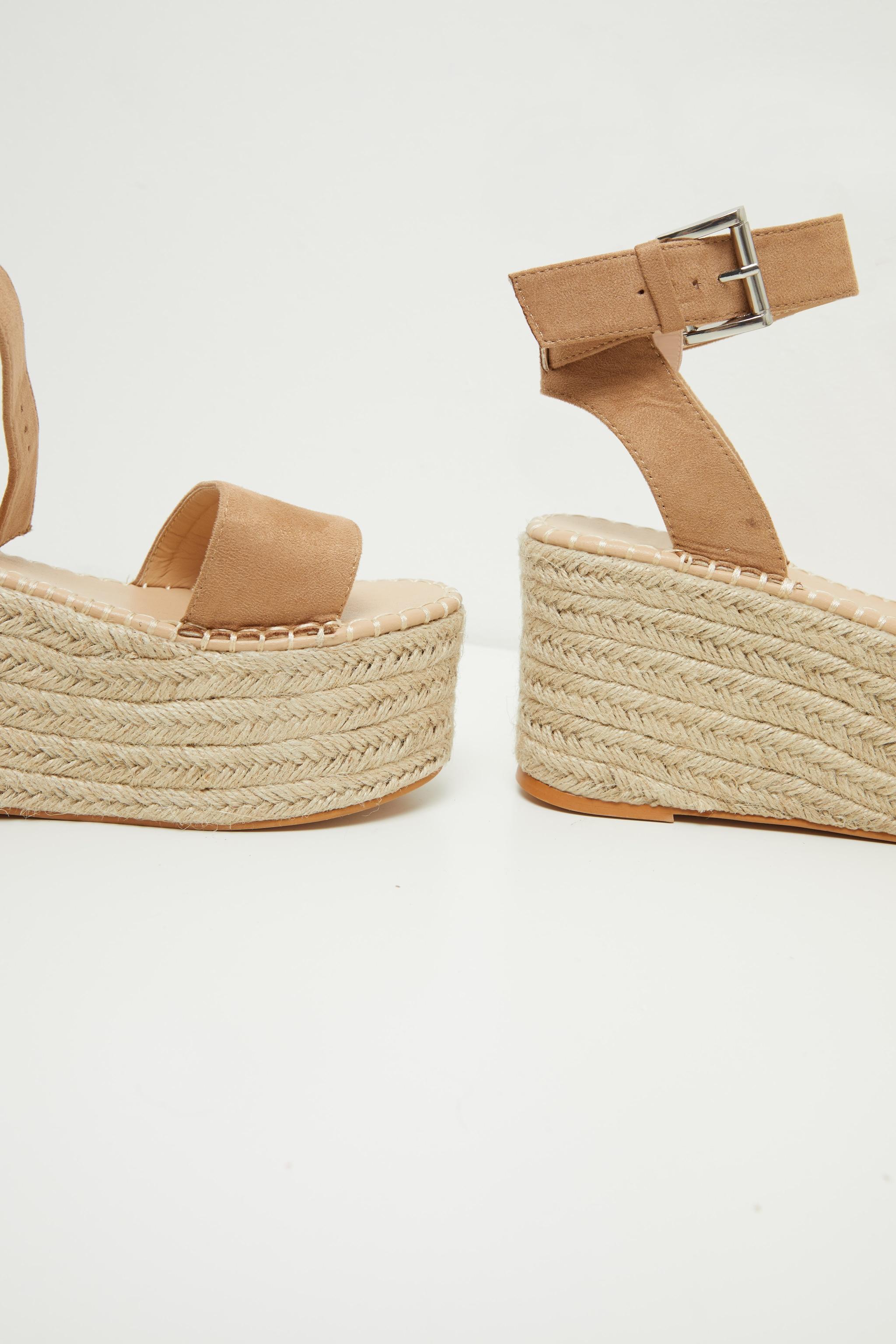 Tan Buckle Ankle Strap Flatform Espadrille Sandal 4