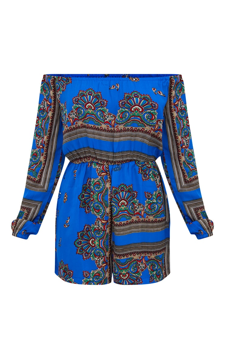 Blue Scarf Printed Bardot Playsuit 3