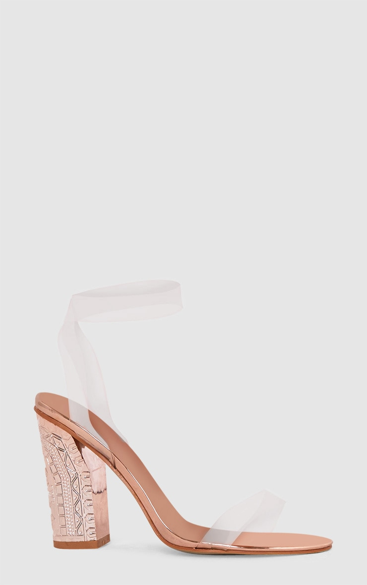 Rose Gold Clear Strap Ornate Heels 3