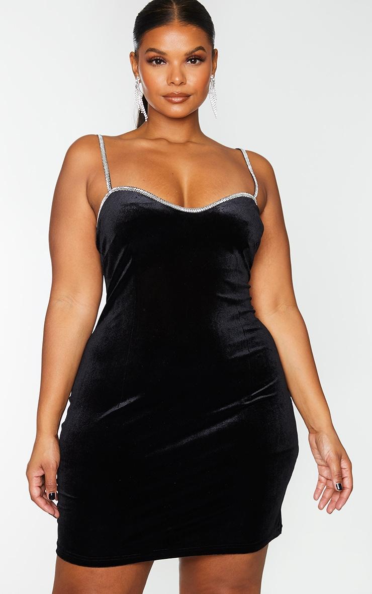 Plus Black Velvet Diamante Trim Strappy Bodycon Dress 3