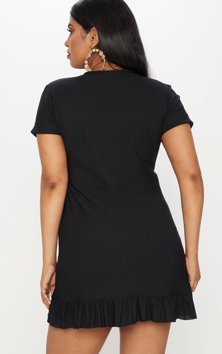 Plus Black Frill Detail Wrap Dress 2