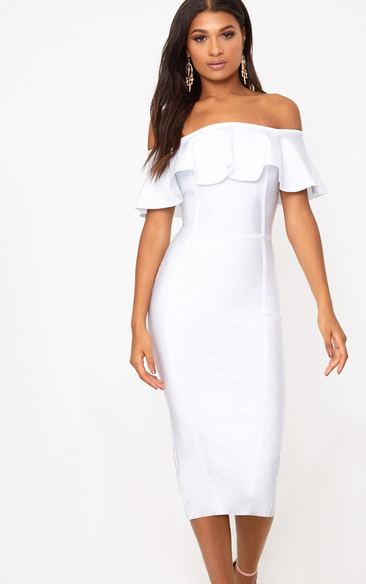 White Bandage Frill Bardot Midi Dress 1