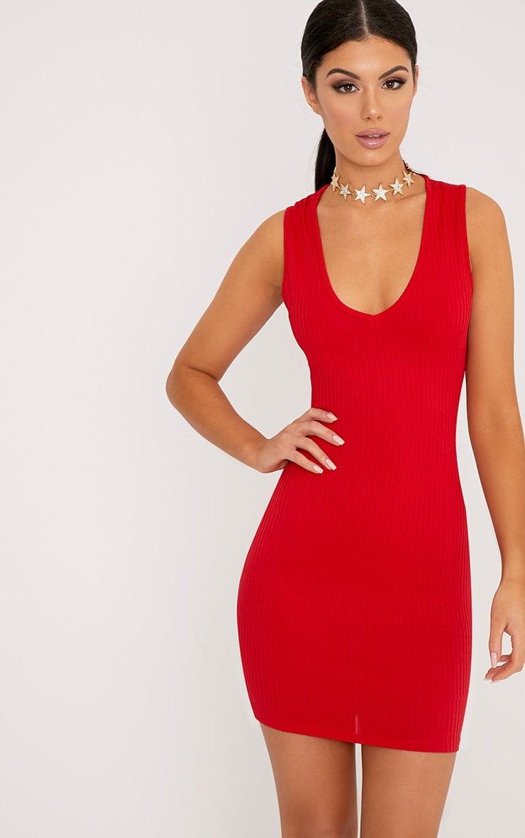 15bced12f50 Gayna Red Plunge Neck Ribbed Bodycon Dress image 1
