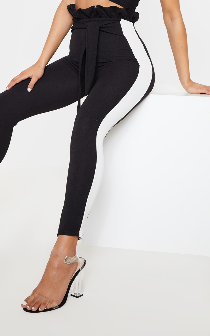 Black Side Stripe Paperbag Skinny Trousers 5