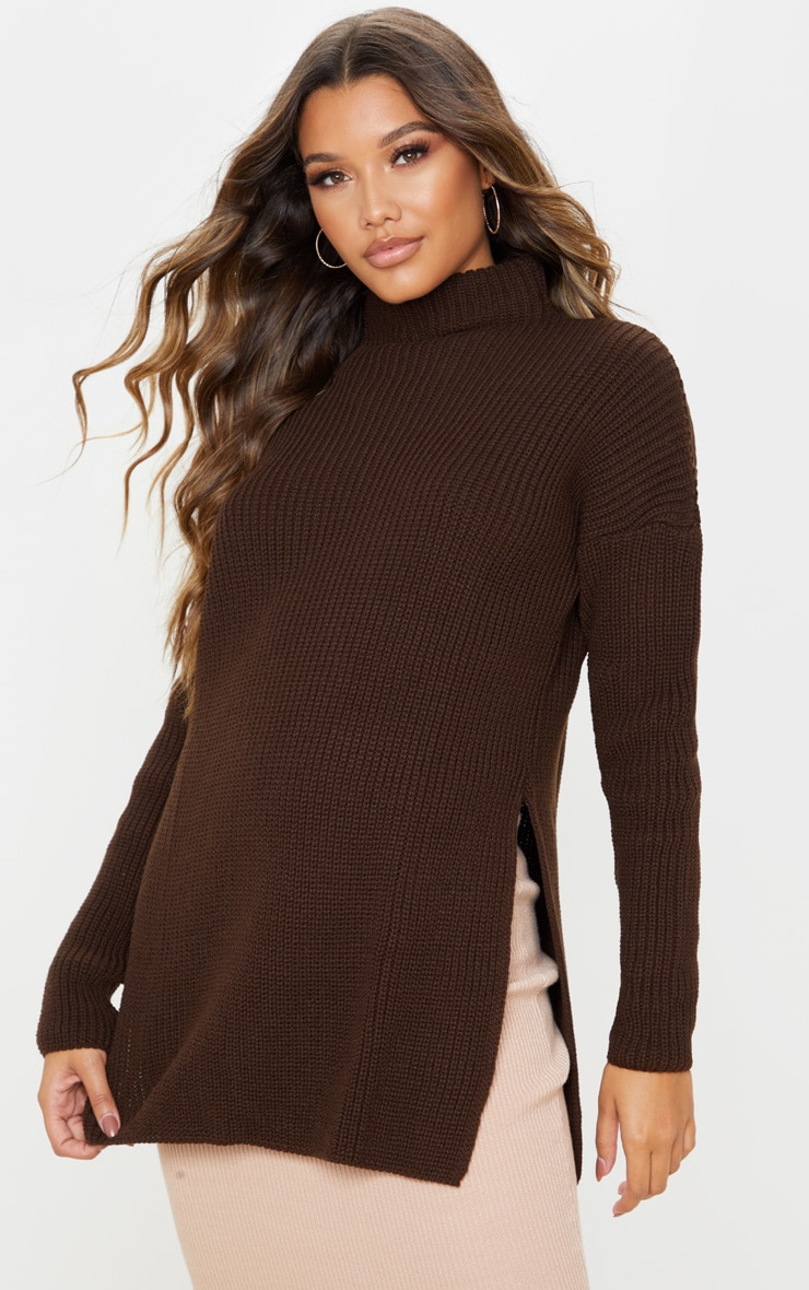 Chocolate Brown High Neck Knitted Side Split Jumper 1