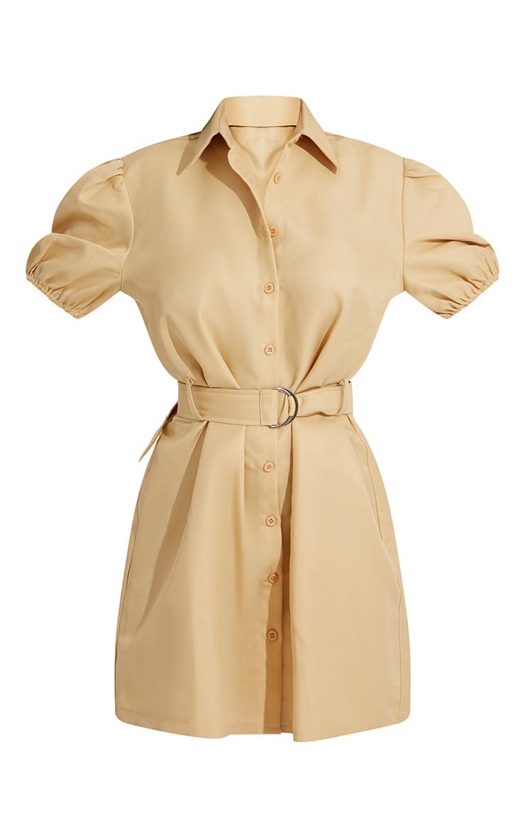 Stone Puff Sleeve Belted Shirt Dress 4