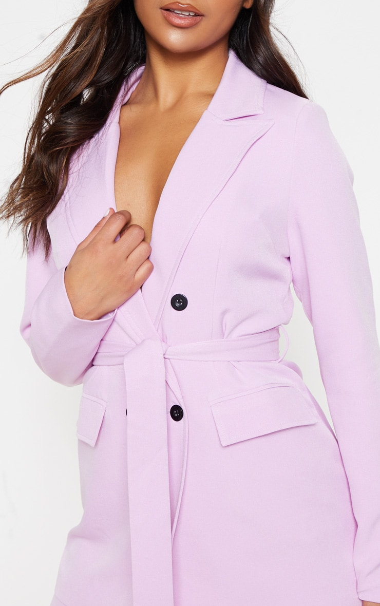 Lilac Belted Long Line Woven Blazer 5