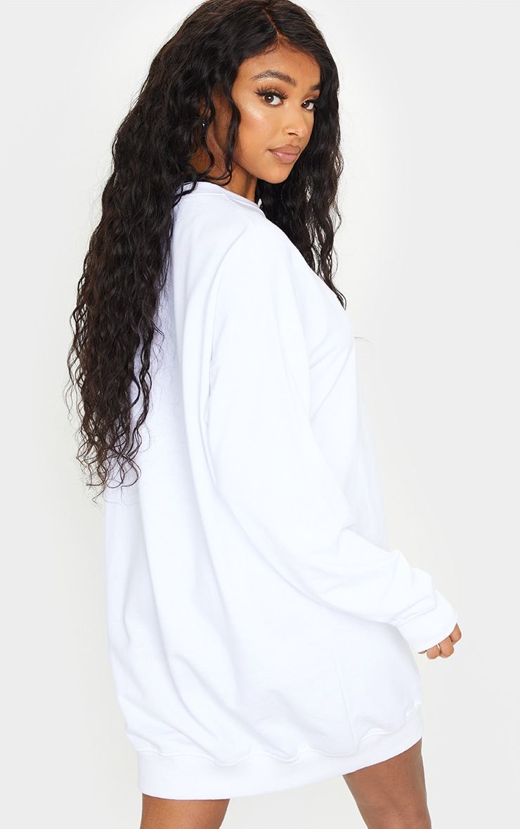 PRETTYLITTLETHING White Embossed Slogan Sweater Dress 2