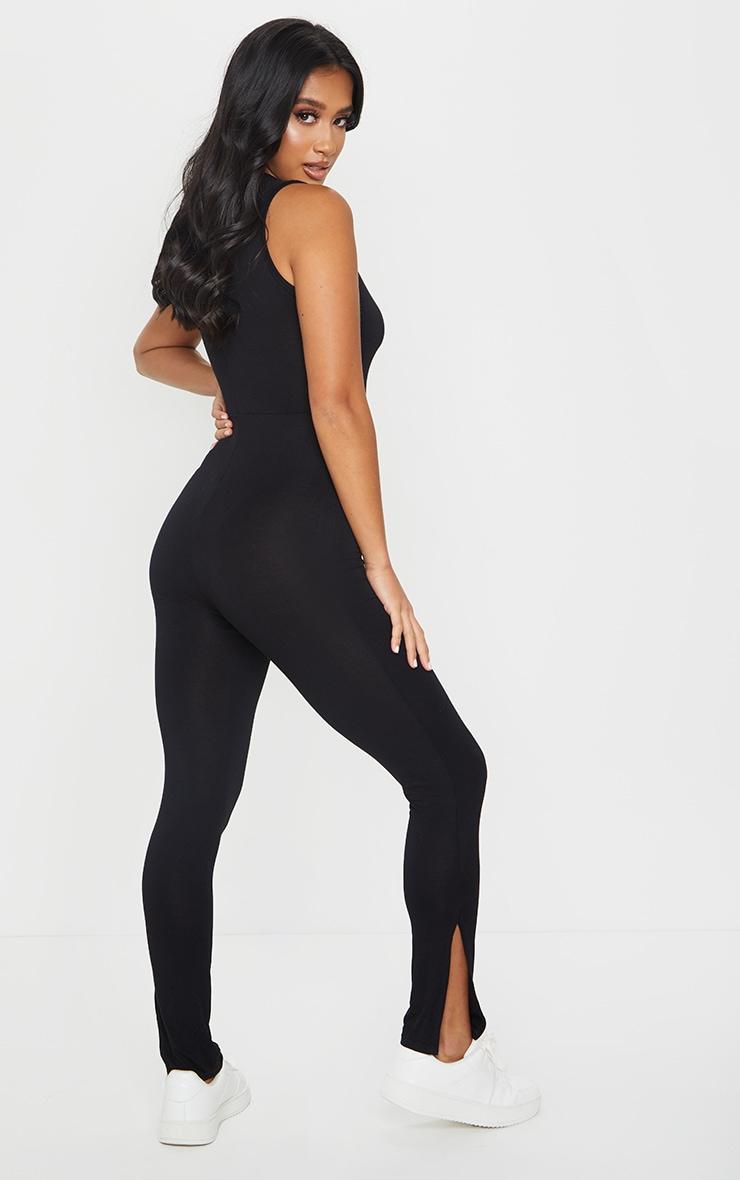 Petite Black Sleeveless Jersey Split Hem Jumpsuit 2