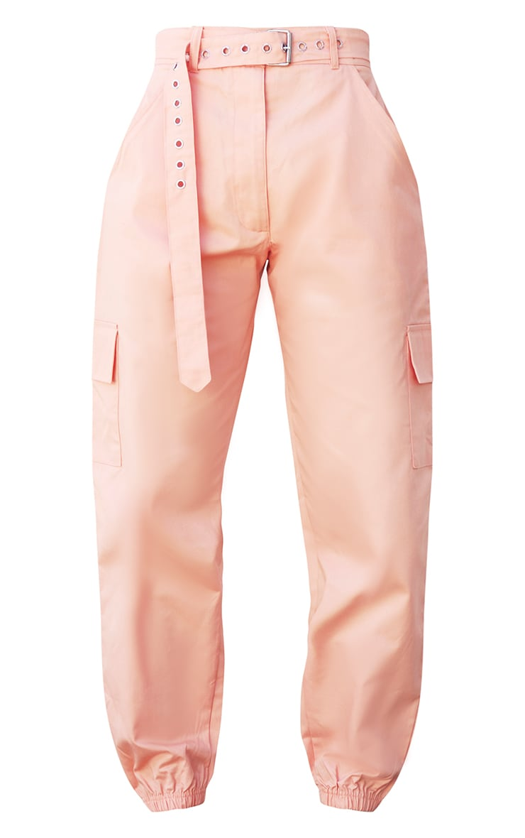 Peach Eyelet Detail Belted Cargo Pants 5