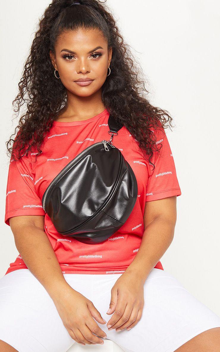 Plus Black Faux Leather Zip Detail Bum Bag 1