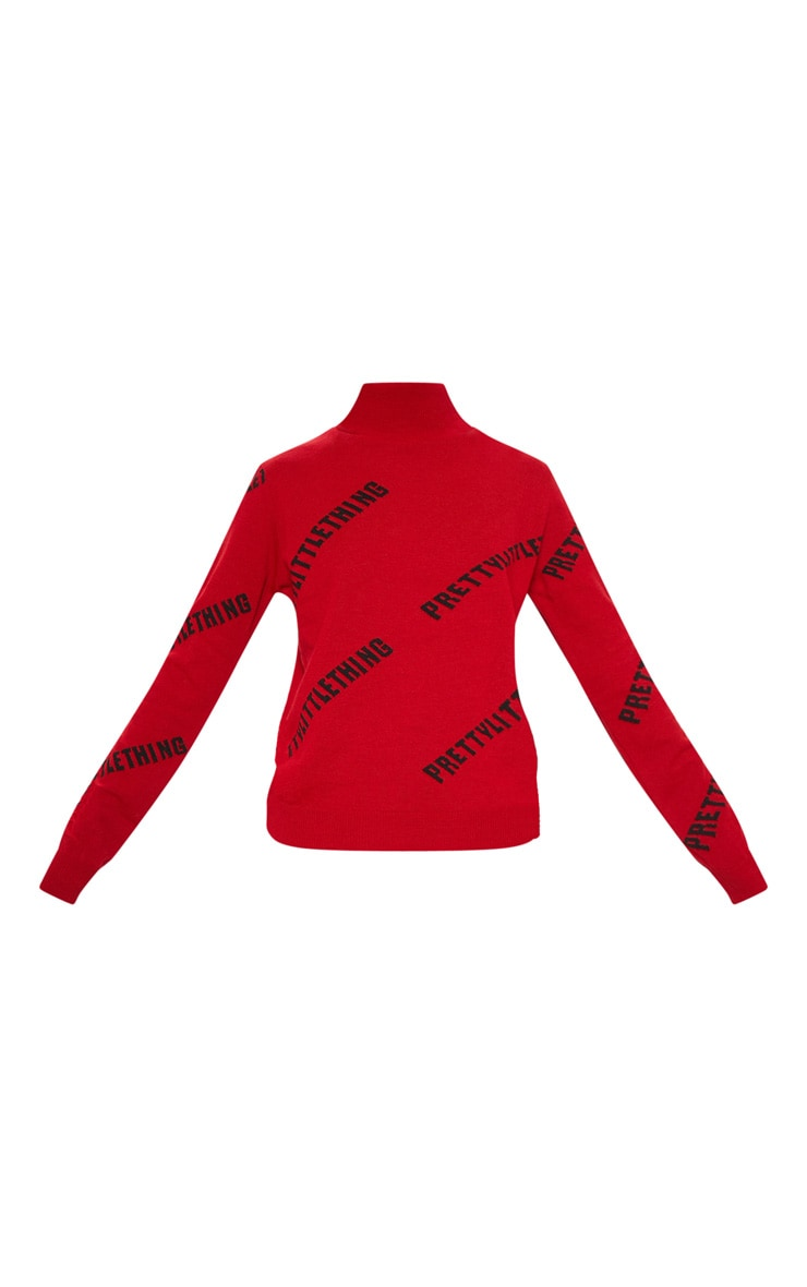 PRETTYLITTLETHING Red Knitted High Neck Jumper 3