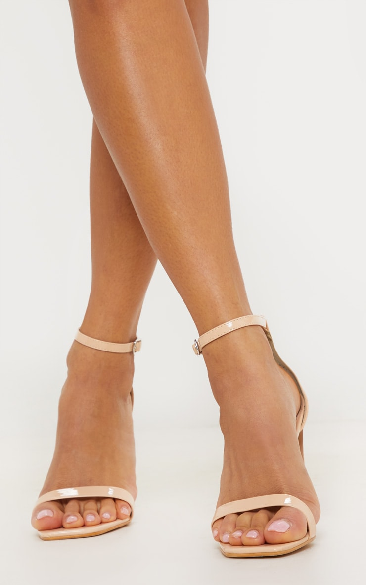 May Nude Patent Block Heeled Sandals Prettylittlething Usa