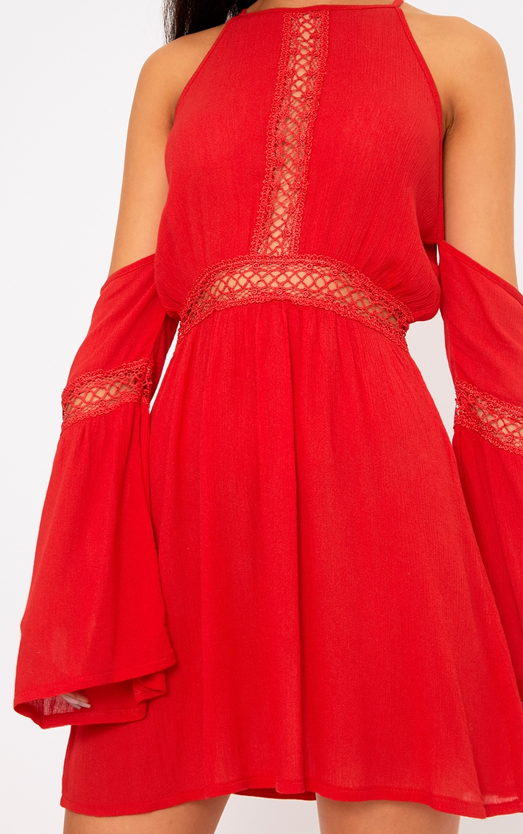 Red Cheesecloth Cold Shoulder Swing Dress  5