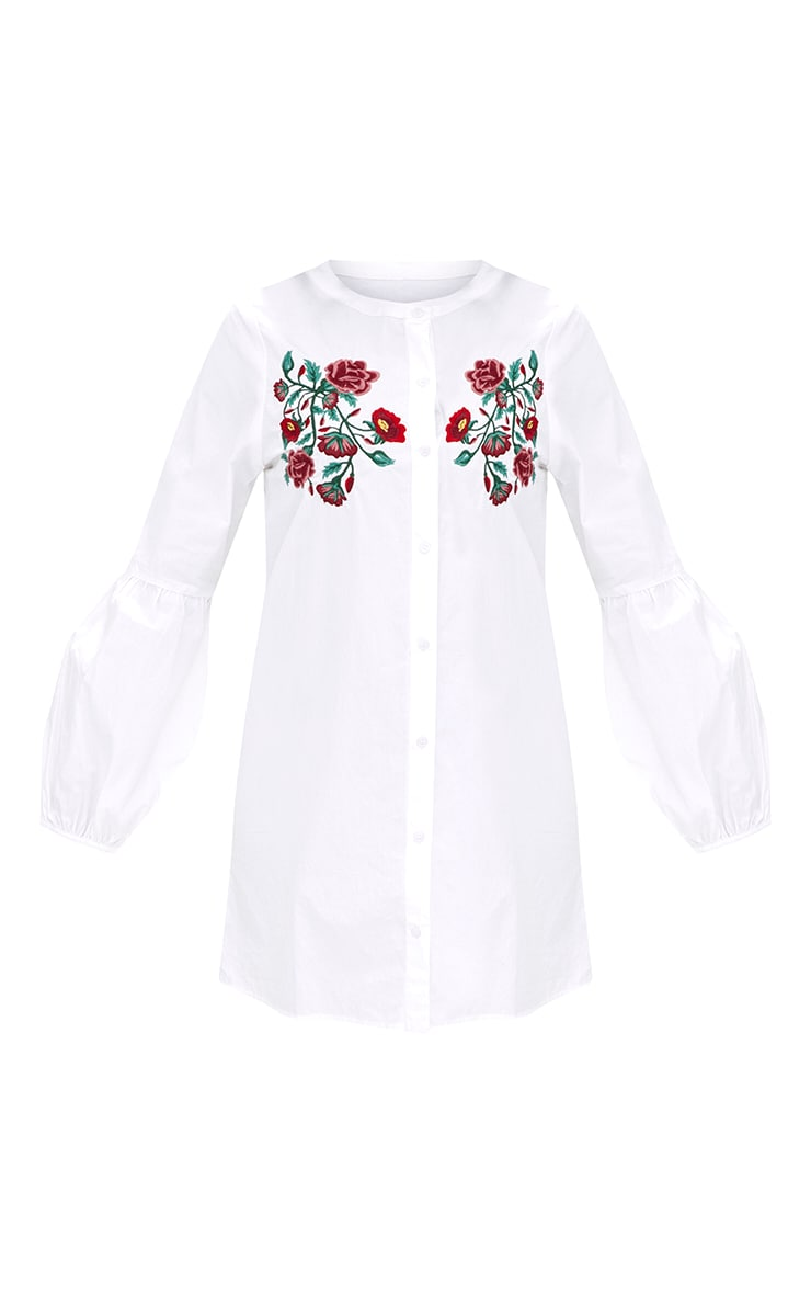 White Embroidered Long Sleeve Shirt Dress  3